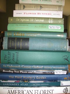 stack of books about floriculture
