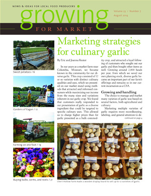 cover of the August 2014 issue of Growing for Market