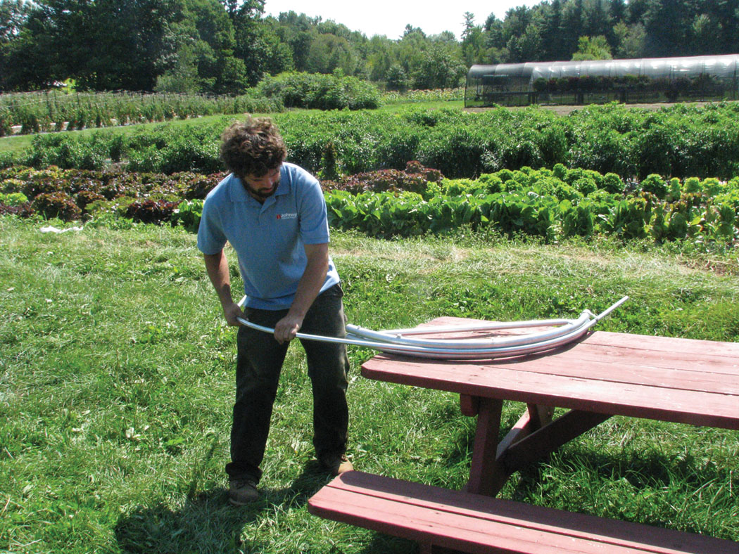 New tool makes strong hoops for overwintering crops